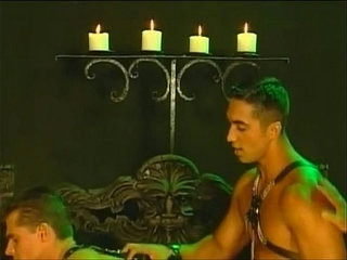 Muscled studs in leather satisfying their sweet mystical holes | muscular   studs   sweet